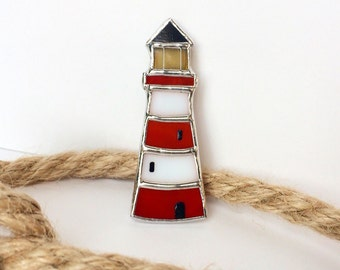 Beautiful Lighthouse Brooch, Tiffany Technique, Glass Art, Glass Lighthouse, Best Gift For Her
