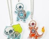 Pokemon Specimen Acrylic Necklaces: Bulbasaur, Charmander, Squirtle