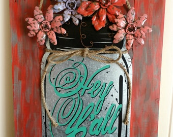Hand Painted and Distressed Repurposed Pallet Wood and Metal Art Wall Decor, Home Decor, Metal Signage, Floral Metal Art, Wood Designs
