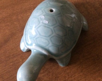 Beautiful, vintage celadon, ceramic sturtle,  turtle water dropper,miniature, collectable,
