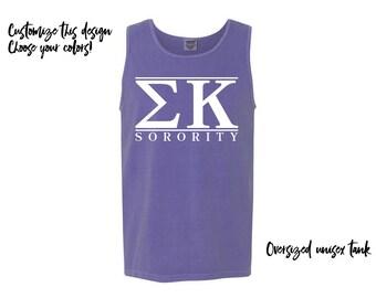 SK Sigma Kappa Sorority Comfort Colors Tank Greek Tank Choose Your Colors