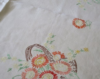 Vintage Irish Linen  Table Cloth-  Hand Embroidered Floral Baskets