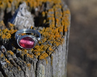 Handmade Ring, Wire Ring, Wire Wrapped Ring, Pink Ring