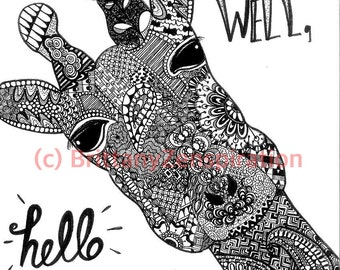 Giraffe Black and White Zendoodle (Ink Drawing) Zentangle Inspired Printable Art