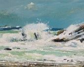 acrylic seascape, cornish...