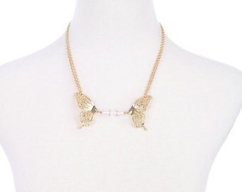 Unique Gold Cutout Butterfly with Pretty White Beads Gold Chain Adjustable Necklace