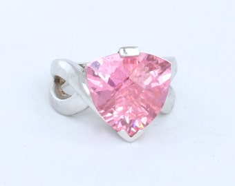 Pink Trilliant Cut Cubic Zirconia Sterling Silver Ring