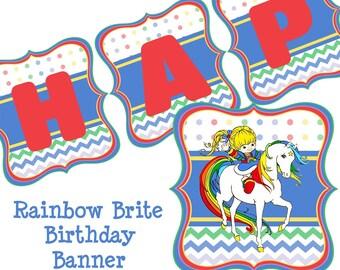 Rainbow Brite Birthday Banner - Rainbow Brite Party Banner - Rainbow Brite Decorations - Rainbow Brite Banner - Instant Download / Printable