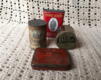 Antique Vintage Advertising Tins, Collection of Four