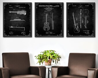 Guitar Decor - Set of 4 - Guitar Wall Art - Guitar Prints Patent Print - Patent Wall Art Poster Sports Decor 1438