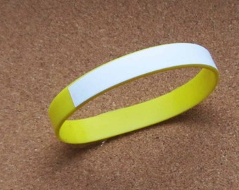 Yellow Writeon Wristbands Silicone Rubber Lot of Three (3) DIY Custom Wristbands Writable Surface Wristbands