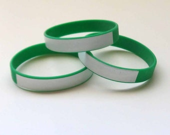 GREEN Writeon Wristbands Silicone Rubber Lot of Three (3) DIY Custom Wristbands Writable Surface Wristbands