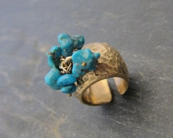 Large ring  with turquoise pendants designed by Stephane de Blaye. Hand made in France