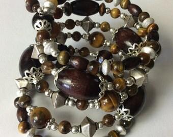 Dark Wood Silver bracelet, Gemstone Bracelets, Natural Wood Beaded Bracelet, Womens bracelets, gifts for her, Wood beaded bracelet