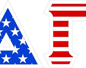 delta gamma american flag giant greek letter sticker