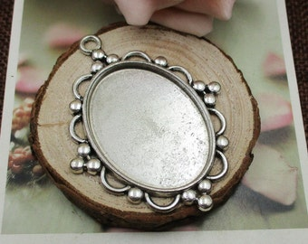 5pcs 30x40mm Oval Cameo Cabochon Base Setting Pendants,Blank Silver Findings Trays-b2090