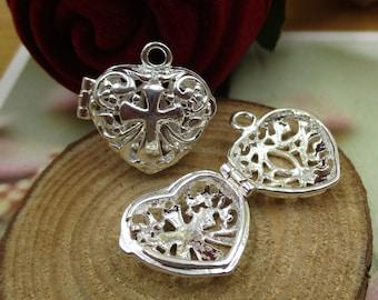 2pcs 9x18x19mm Vintage Heart Locket,Metal Frame Locket Pendant,Bright Silver Tone-p1389