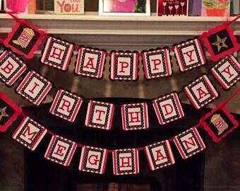Birthday  Banner, Movie Theme Birthday Banner , Red/White/Black, Movie Night Banner