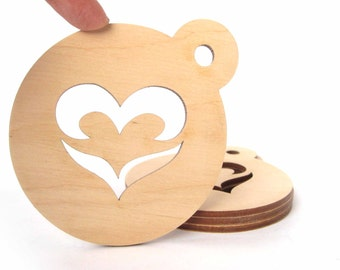 Plywood coasters, Set of 4,  Blank coaster, Craft for Decoupage, Unfinished Wooden Coasters, Heart, Laser cut
