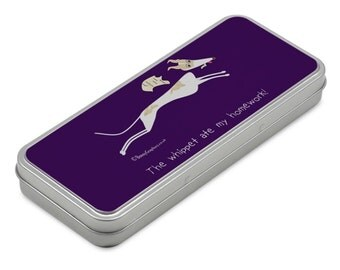 Metal pencil case with fun whippet design!
