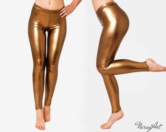 Metallic Gold Leggings, Very Stretchy,Wet look Pants. Skin Tight,Spandex Disco Leggings Shiny,Party,Clubbing, Sparkly Leggings.LATEX look.