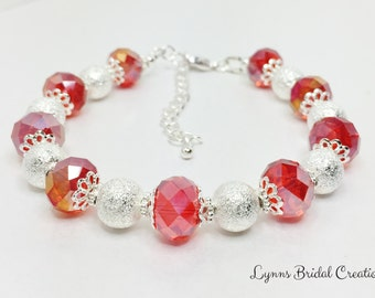 Red and Silver Bracelet Red Beaded Bracelet Crystal Bridesmaid Gift Red Wedding Party Gift Red Crystal Bracelet Mother Of The Bride Gift
