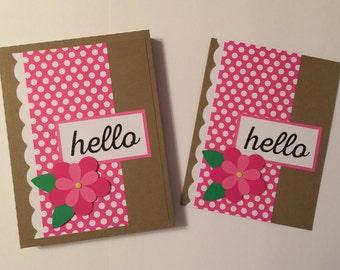 "Handmade BOX Set of 4 ""Hello"" Note Cards w/Envelopes"