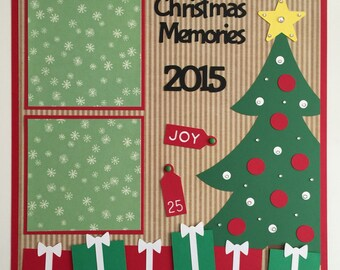 "Handmade Premade 12x12 ""Christmas Memories"" Scrapbook Page Layout, Christmas,"