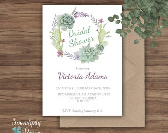 Succulent Bridal Shower Invitation Printable