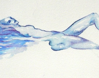Sensual female nude art ooak original watercolor painting woman blue