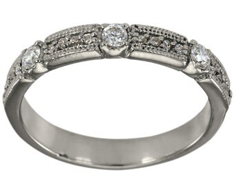 Diamond Wedding Band In 14k White Gold With An Delicate Design & Milgrain Accent