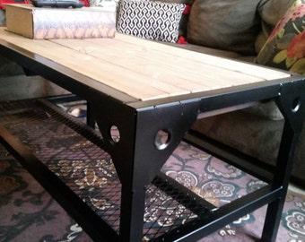Industrial black metal and wood coffee table
