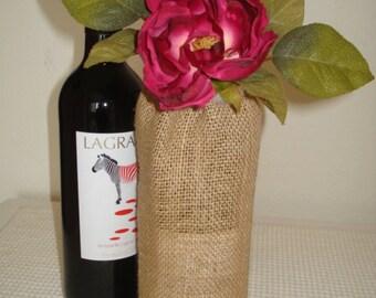 Burlap Wine Gift Bag Burgundy Rose