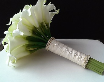 White Real Touch Calla Lily Bridal Bouquet-Ivory and Gold Calla Lily Bouquet-White Bridal Bouquet-Silk Flower Wedding Bouquet