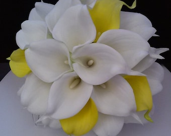 Yellow Calla Lily Bridal Bouquet with Boutonniere-Yellow and White Bridal Bouquet-Real Touch Bouquet-Silk Flower Wedding Bouquet