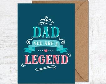Fathers Day Card, Dad Birthday Card, Thanks Dad Card, Funny Dad Card, Card for Dad, Best Dad Ever Card, Dad Legend Card, Father Card