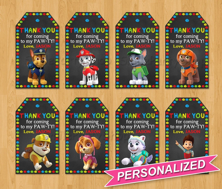 Paw Patrol Favor Tags Paw Patrol Thank You Tags Paw by SmileParty