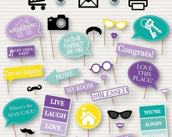 Housewarming Printable Photo Booth Props - Props for House Warming Party - Housewarming Party Decor - PhotoBooth - Instant Download