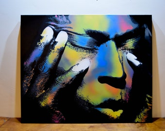 Miles Davis - Spray painted stencil art on canvas