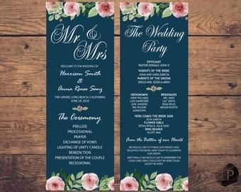 Navy Wedding program, navy wedding program printable template, download, floral wedding program, rustic wedding program,  W0116