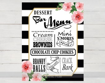 Floral Wedding Dessert sign, floral wedding menu, dessert table sign, dessert bar sign, Wedding menu sign, watercolor, black stripes W0216