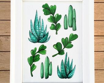 Wall Art, Original Hand painted Illustration Dessert Plants Pattern