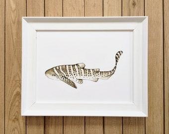 Giclée Print, Illustration of Zebra Shark, A4 & A5 size