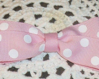 """3"""" pink polka dot hair bow"""