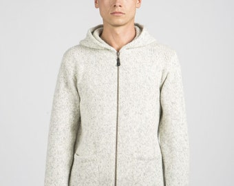 Minimalistic wool sweater with hood