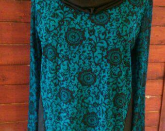 Women's Tunic Top - Turquoise with Black Sleeves. Longer in the Back