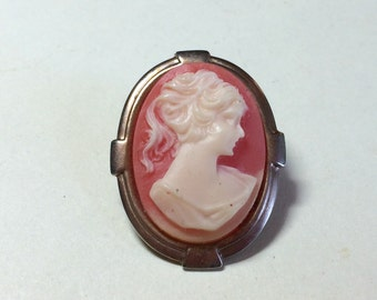 Modern vintage large cameo brooch with minimal Art Deco setting vintage cameo pin Victorian style cameo Art Deco cameo modern cameo 1950s