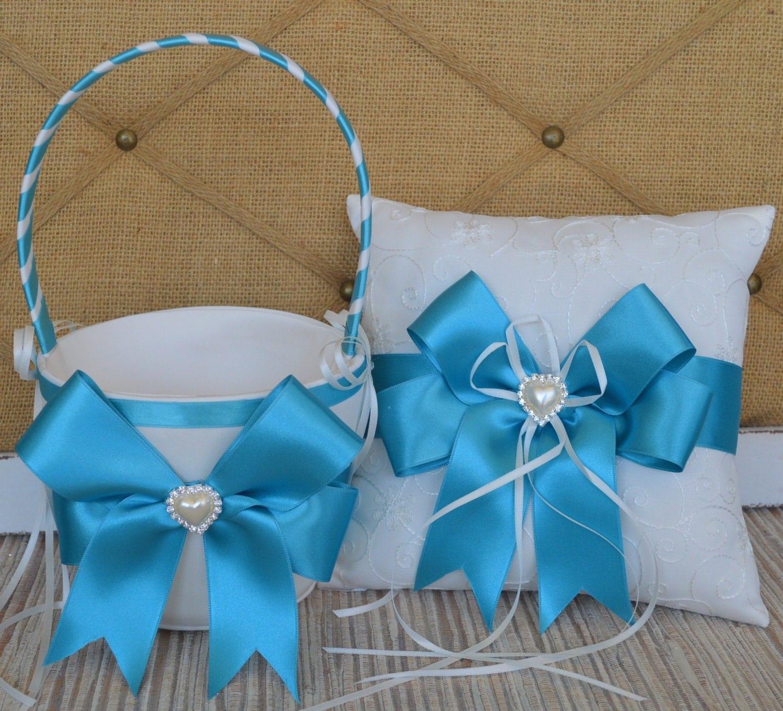 Malibu BlueWedding Flower Girl Basket and Ring Pillow
