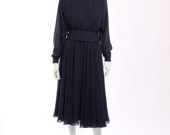 1980s Pierre Cardin Navy Blue Dress