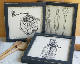 Wood Signs, Wood Wall Art, Wood Wall Hanging, Kitchen Art Decor, Kitchen Decor Rustic, Art Print Set, Kitchen Decor Signs